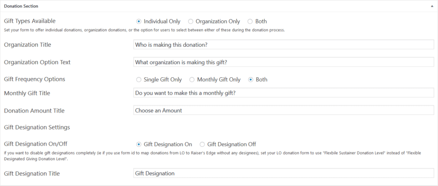 WPLO Donate Built-In Form Options
